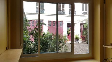 Installation porte baie vitrée coulissante PVC 95